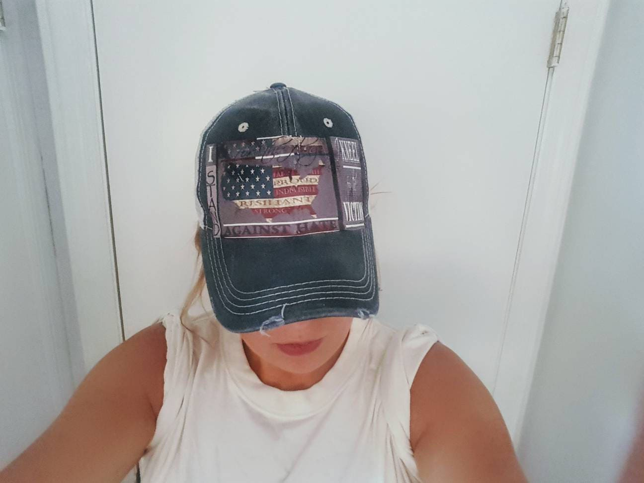 I Stand Trucker Hat. Strong. Distressed Hat. UnisexTrucker Hat. American  Flag Hat b14d1e143bb1