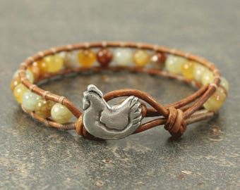 Gemstone Chicken Jewelry Silver Off White Yellow Gray Gold Chicken Bracelet Bohemian Single Leather Wrap Bracelet