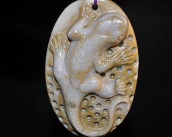 31x49x10mm ~Exquisite Animal Totems~RIBBON JASPER Large Carved 3d Lizard Bead Pendant - Q1116