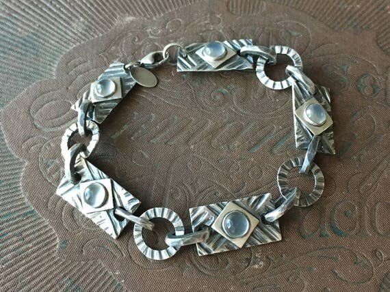 Moonstone Bracelet | Carved Silver Bracelet | Modern Vintage Jewelry