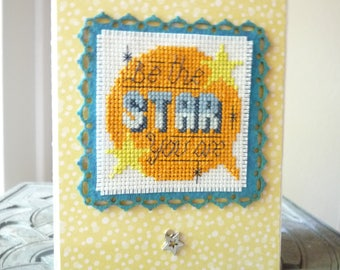 Be The Star You Are, Hand Stitched Greeting Card