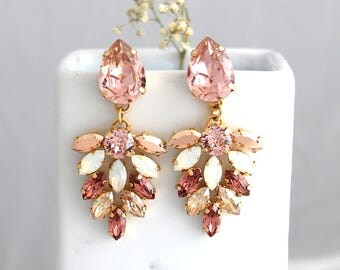 Blush Earrings, Bridal Blush Earrings, Morganite Drop Earrings, Blush Dangle Earrings, Roee Gold Earrings, Bridal Blush Chandelier Earrings