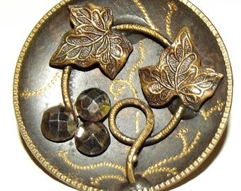 Antique Button ~ Large Metal Button Etched Brass with Cut Steels & Ivy