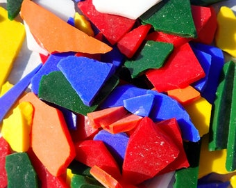 Stained Glass Mosaic Tiles in Mix of Bright Bold Colors - 1/2 Pound