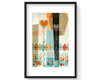 PASTICHE no.26 - Giclee Print - Mid Century Modern Danish Modern Abstract Art Eames Style