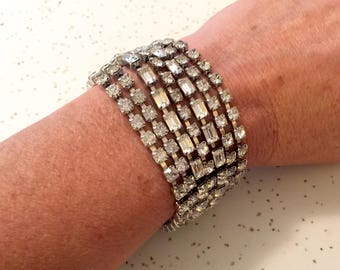 Vintage Rhinestone Beaded Bracelet, Vintage Jewelry, Kramer New York Costume Jewelry, Vintage Fashion, Gift for Mom