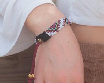 Tribal Seed Bead Bracelet - Bead Loom Bracelet - BridesMaid Gifts - Native American Womens Bracelet - Adjustable Bracelet