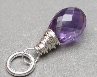 Amethyst Sterling Silver Wire Wrapped Pendant, Amethyst Birthstone Charm, February Birthstone, Amethyst Drop, Stones 2