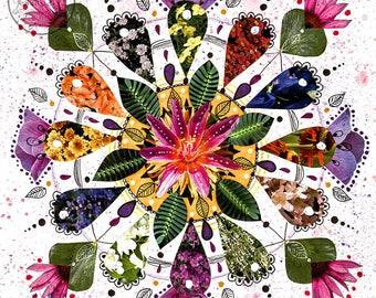 original mixed media collage art - flower wall art - mandala artwork - original mandala art - original floral wall art