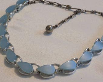 Vintage retro necklace, baby blue lucite petals and rhodium plate choker necklace, 1950's necklace