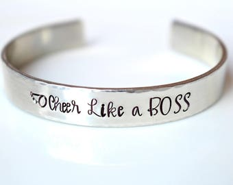 Like a Boss - Cheerleading Gifts - Cheer Bracelet - Cheer Gifts - Cheer Team Gifts - Cheer Like A Boss - Cheer Coach Gift - Cheer Banquet