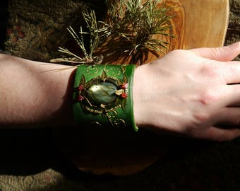 Enchanted Spring Leather, Labradorite and Bead Cuff with Embroidery, One of a Kind
