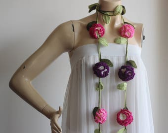 Carnation Scarf-Pink and Purple Cloves with Green Leaves-Lariat Necklace