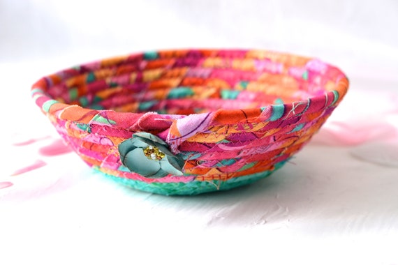 Artisan Quilted Basket, Handmade Pink and Turquoise Bowl, Pink Candy Dish, Makeup Organizer, Cute Desk Accessory Basket
