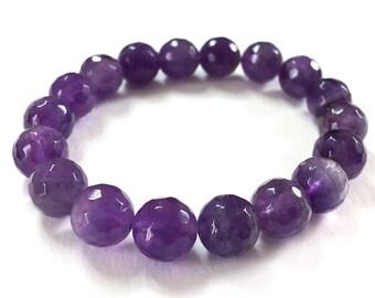 Amethyst Bracelet - Stretchy gemstone bracelet, gemstone jewelry, amethyst, stretchy amethyst bracelet, beaded bracelet, amethyst jewelry