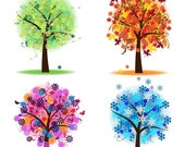CIJ SALE Four Seasons Trees Clipart Clip Art, Spring Summer Winter Fall Autumn Clip Art Clipart - Commercial and Personal
