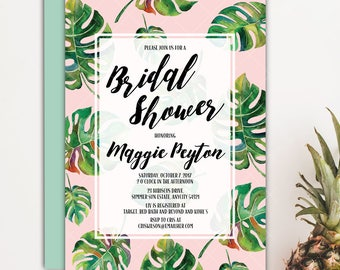 Tropical Bridal Shower Brunch and Bubbly Invitation, Tropical Leaves Luau Summer Bride Wedding Shower Printable Invitation v.2
