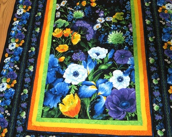 Spring Lap Quilt with Flowers on Black Lap Quilt 68 x 48