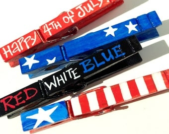 Happy 4th of JULY red white and blue stars and stripes hand painted magnetic clothespin set  independence day
