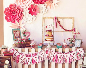 Berry Sweet Pennant Banner with Glitter Letters