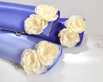 Shades of Violet, Periwinkle blue Clutch  with Ivory flowers - Periwinkle blue Wedding - Bridal Clutch / Bridesmaid clutch / Prom clutch