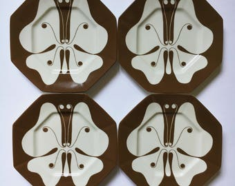 Fitz and Floyd Allegro butterfly salad bread plates 1978 vintage set of 4