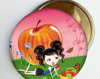 """Petit miroir de poche """"Croque la vie"""" fond rose, accessoire de sac, cadeau fille"""