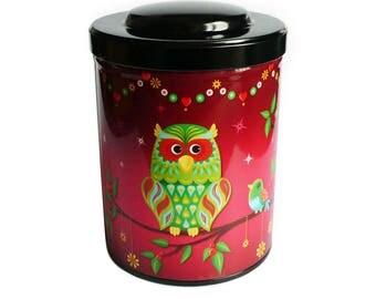 """Boite à thé ou café """"Chouette"""" rouge, rangement cuisine, cadeau amateurs de thé, café"""