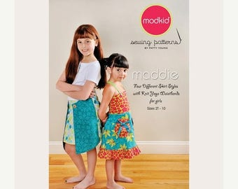 SALE 10% Off - Modkid Sewing Pattern by Patty Young - MADDIE - Four Different Skirt Styles with Knit Yoga Waistbands for Girls - Girls Skirt