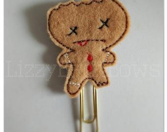 Planner clip, bookmark, planner feltie clip, felt bookmark, dead gingey feltie clip, wounded cookie, eaten gingerbread boy Christmas in July