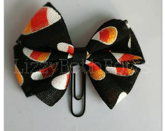 Candy Corn clip, bookmark, planner bow clip, bow bookmark, black orange yellow white candy halloween