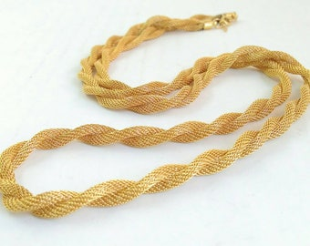 Gold Rope Chain Necklace, Trifari Jewelry, Heavy Rope Chain, Thick Gold Serpentine Chain, 2 Strand Long Chain Necklace, Herringbone Necklace