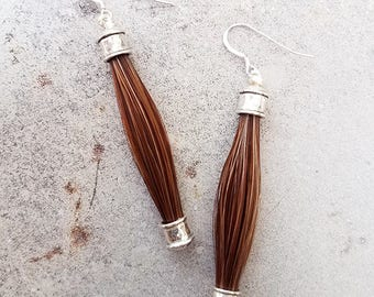 Horse Hair and Sterling Silver Drop Earrings - Horsehair Jewelry