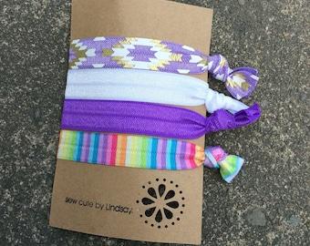 Knitted elastic hair tie - ponytail holder - purple aztec, white, purple, rainbow stripe