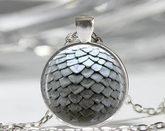 ON SALE Grey Dragon Egg Necklace Mythology Jewelry Fantasy Art Pendant in Bronze or Silver with Link Chain Included