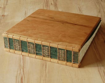 Wood wedding photo album or scrapbook Cherry wood unique wedding anniversary parent gift memorial album rustic fall wedding - ready to ship
