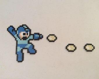 Jumping/Firing Mega Man inspired pixel figure - bead sprites