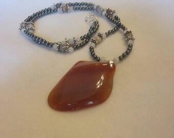 Agate Hematite Quartz Pendant Necklace - 24 1/2 Inches