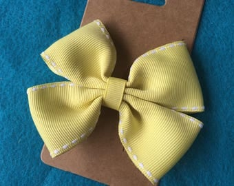Yellow and White Stitched Double Loops Ribbon Hair Bow Clip