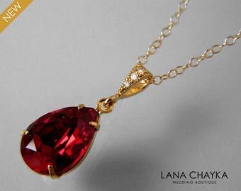 Red Crystal Gold Necklace Swarovski Siam Red Necklace Red Teardrop Necklace Bridal Dark Red Necklace Bridesmaid Gift Red Rhinestone Necklace