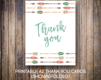 Tribal Thank You Cards, Watercolor Thank You Notes, Baby Shower Thank You, Green, Coral, Digital Download, Printable Cards, 810