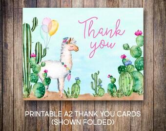 Llama Thank You Cards, Watercolor Thank You Notes, Birthday Thank You, Watercolor Cactus, Green, Blue, Digital Download, Printable Card, 607