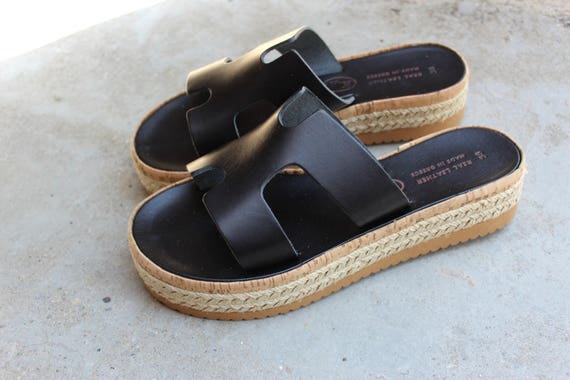 Wedge sandals! size 38 SALE SIZE 8-8.5 US black wedges!Heel 4 cm/ 1.6''-Greek sandals! Leather sandals, sandales grecques , compense