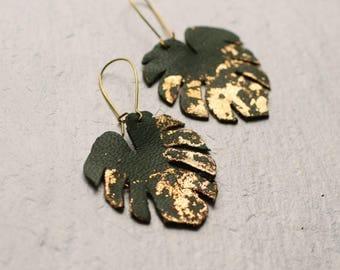 Palm Leaf Earrings ... Festival Tropical Gold Green Leaf Earrings