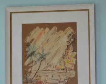 Tropical theme paintings,Florida Art, Shabby Chic, Coastal Decor, mid century art,coastal wall art