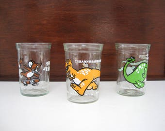 Vintage Jelly Glasses Welch's Drinking Glass Set Tom and Jerry Dinosaur Tyrannosaurus Rex Brontosaurus Collectibles