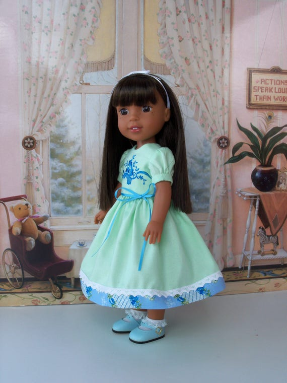 """14"""" Size/ Fits like WELLIE WISHER Doll Clothes / Embroidered  Dress and  Shoes For American Girl® Wellie Wishers®"""