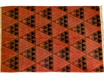 Mid-Century Modern Geometric Patterned Vintage Turkish Wool Area Rug, circa 1955 - 1965