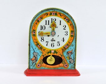Vintage Tin Toy Clock Chein Mouse Hickory Dicory Dock 1940s