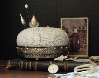 Pin Cushion / Vintage Silver Plate Base Pincushion Pin Cushion OOAK / Vintage Cotton Crochet Lace / Hand Crafted / Sewing / Up Cycled